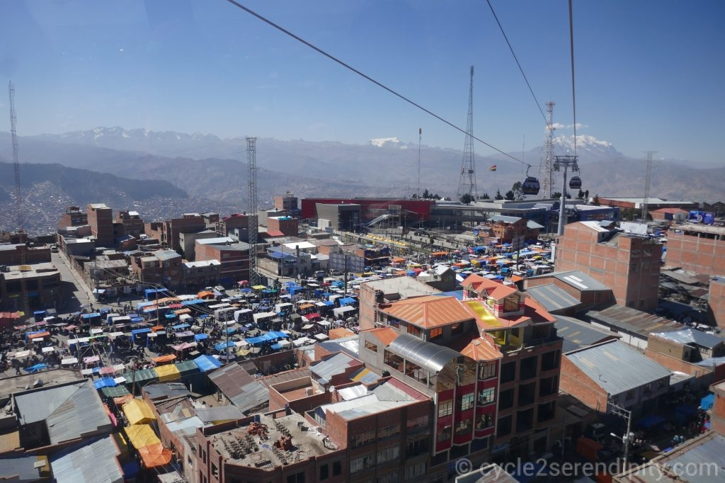 A feira do El Alto, vista do teleférico.